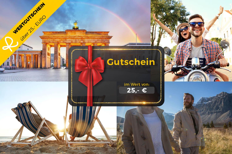 25,- Euro Wertgutschein für den Reiseschein Online-Shop - Ideal zum Verschenken