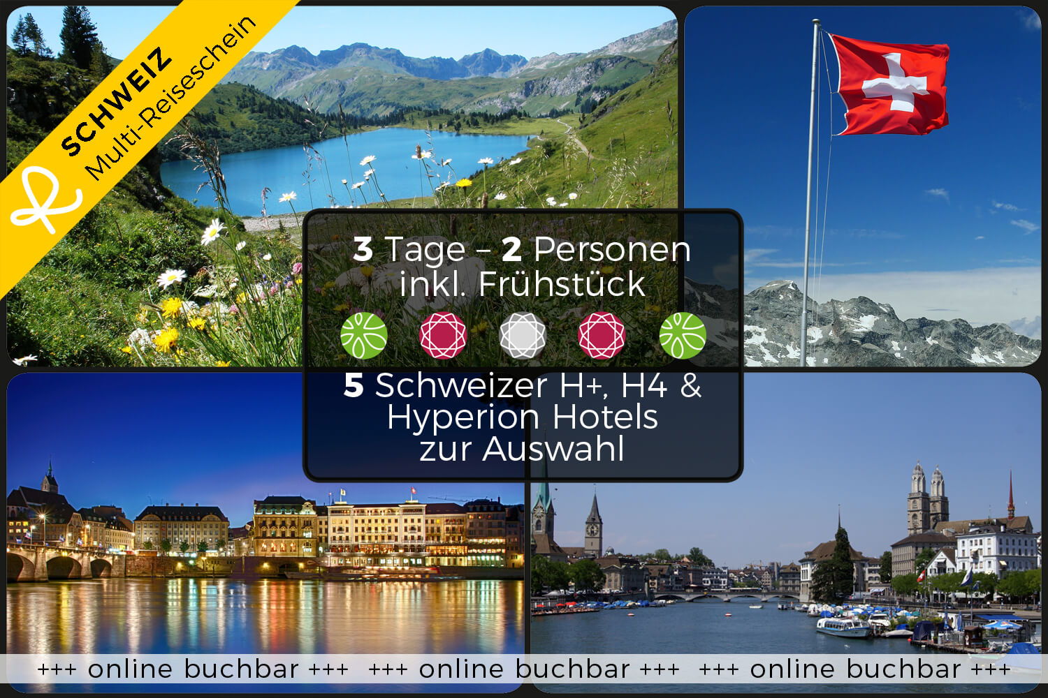 3 days holiday in a Swiss Hotel of your choice for experience & enjoy