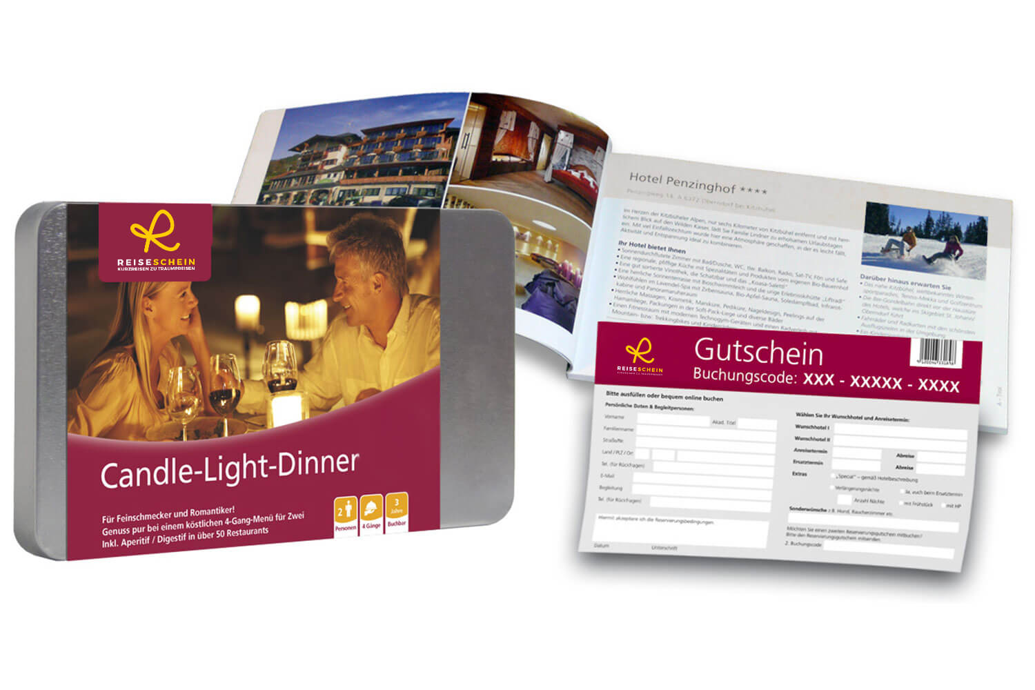 Candle-Light-Dinner  -  1 x 4-gängiges Menü für 2 in über 90 Restaurants  -  Ideal zum Verschenken