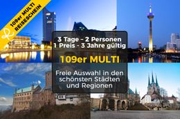 109er MULTI-Travelticket for 3 days Short break for two in one of over 30 hotels in over 10 cities of your choice