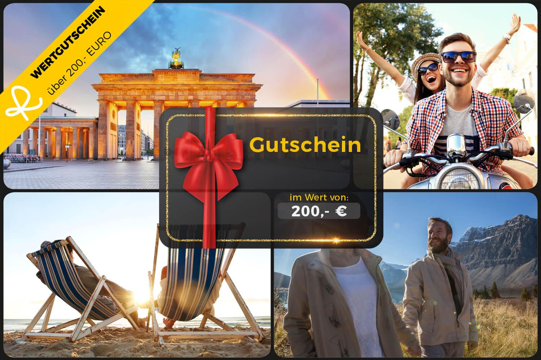 200,- Euro Wertgutschein für den Reiseschein Online-Shop - Ideal zum Verschenken