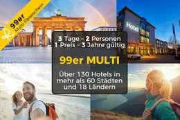 99er MULTI-REISESCHEIN für 3 Tage Urlaub zu zweit in einem von über 130 Hotels in mehr als 60 Städten & 18 Ländern 001