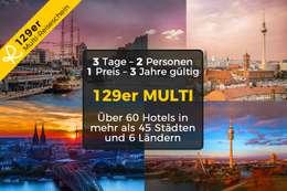 129er MULTI-Reiseschein für 3 Tage Kurzurlaub zu Zweit in einem von über 60 Hotels in mehr als 45 Städten & 6 Ländern 001
